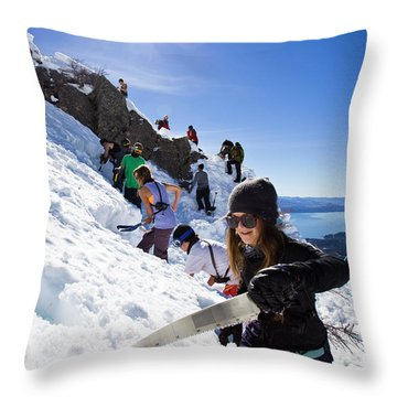 Professional Skier Using A Snow Saw Throw Pillow