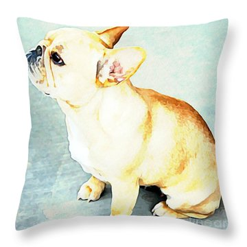 Throw Pillow featuring the painting Profile In Frenchie by Barbara Chichester