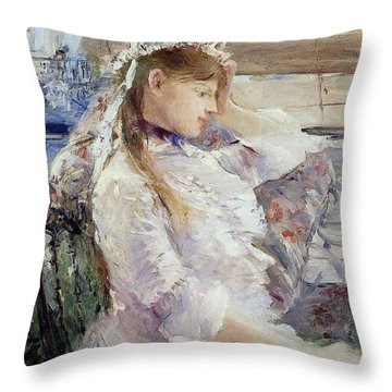Profile Of A Seated Young Woman Throw Pillow by Berthe Morisot