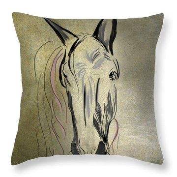 Profile Of A White Horse Throw Pillow by Angela A Stanton