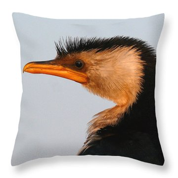 Profile Of A Young Cormorant Throw Pillow
