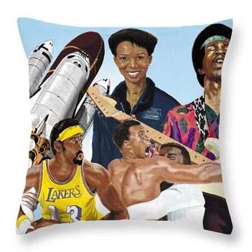 Jimi, Muhammad Ali, Wilt Chamberlain And Mae Carol Jemison Throw Pillow
