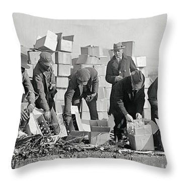 Prohibition Feds Destroy Liquor  1923 Throw Pillow