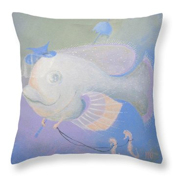 Throw Pillow featuring the painting Promenade by Marina Gnetetsky