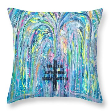 Pms 19 My Will Be Done Fountain And Triple Cross Throw Pillow