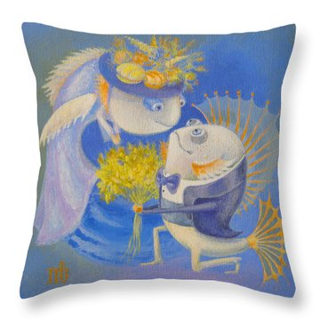 Throw Pillow featuring the painting Proposal by Marina Gnetetsky