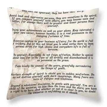 Prose Poem Desiderata By Max Ehrmann  Throw Pillow by Olga Hamilton