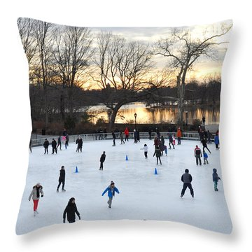 Prospect Park Skating Rink At Sunset Throw Pillow by Diane Lent