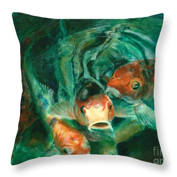 Prosperity Koi Throw Pillow