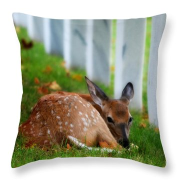 Protecting Our Heros Throw Pillow by Peggy Franz
