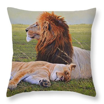 Protecting The Queen Throw Pillow by Aaron Blaise
