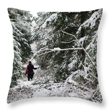 Protective Forest In Winter With Snow Covered Conifer Trees Throw Pillow by Matthias Hauser