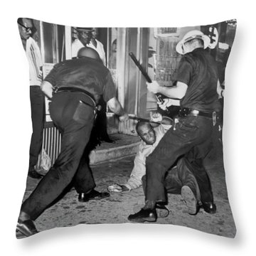 Protester Clubbed In Harlem Throw Pillow by Underwood Archives