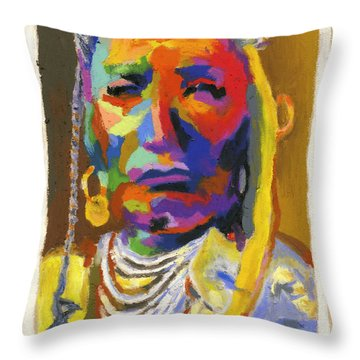 Proud Native American Throw Pillow by Stephen Anderson