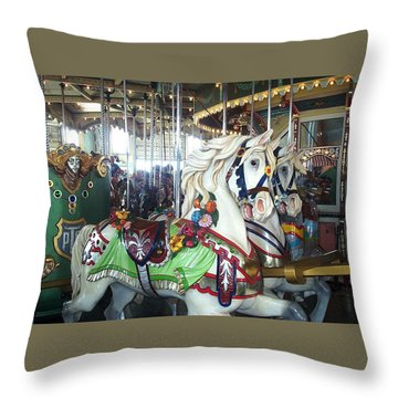 Throw Pillow featuring the photograph Proud Prancing Ponies by Barbara McDevitt