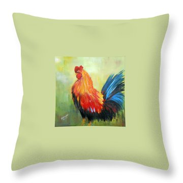 Throw Pillow featuring the painting Proud Rooster by Dorothy Maier