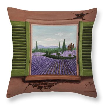Throw Pillow featuring the painting Provence Lavander Fields Original Acrylic by Georgeta Blanaru