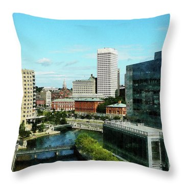 Providence Ri Skyline Throw Pillow by Susan Savad