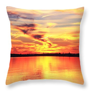 Provincetown Harbor Sunset Throw Pillow by Roupen  Baker
