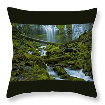 Throw Pillow featuring the photograph Proxy Falls by Nick  Boren