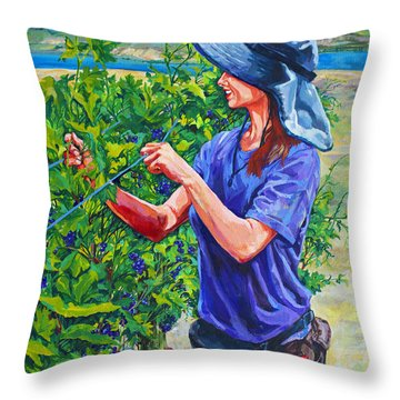 Pruning The Pinot Throw Pillow by Derrick Higgins