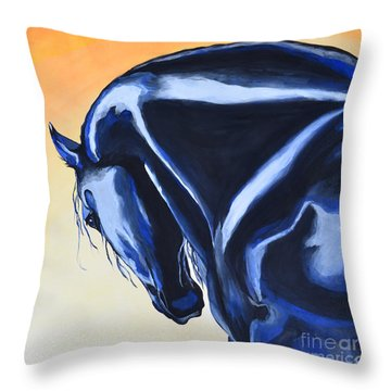 Throw Pillow featuring the painting Prussian Night by Suzette Kallen