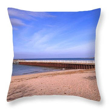 Prybil Beach Pier Throw Pillow