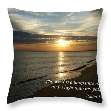 Psalm 119-105 Your Word Is A Lamp Throw Pillow by Susan Savad