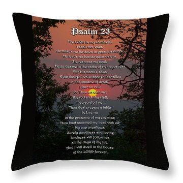 Psalm 23 Prayer Over Sunset Landscape Throw Pillow by Christina Rollo