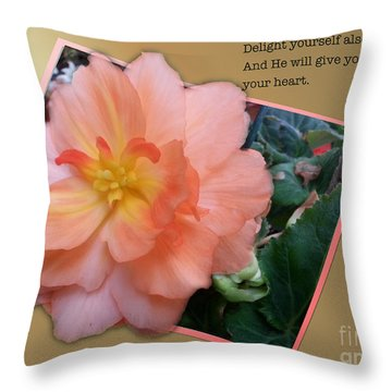 Psalms 37  4 Throw Pillow by Donna Brown