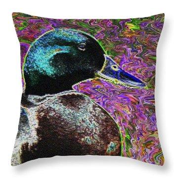 Psychedelic Anatidaephobia Throw Pillow by Lisa Brandel