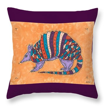 Psychedelic Armadillo Throw Pillow