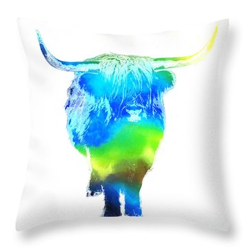Psychedelic Bovine #2 Throw Pillow by Pixel  Chimp