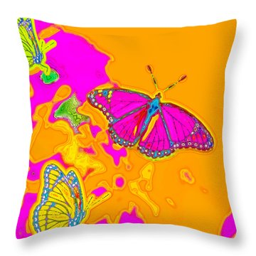Psychedelic Butterflies Throw Pillow