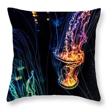 Psychedelic Cnidaria Throw Pillow by Olga Hamilton