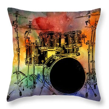Psychedelic Drum Set Throw Pillow