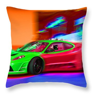 Throw Pillow featuring the photograph Psychedelic Ferrari by Gunter Nezhoda