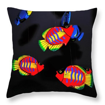 Psychedelic Flying Fish Throw Pillow by Kaye Menner
