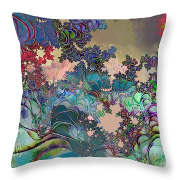 Throw Pillow featuring the digital art Psychedelic Garden by Ursula Freer