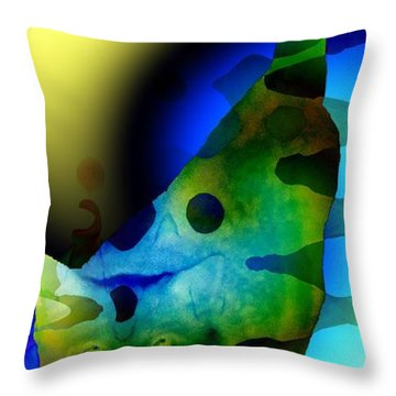 Psychedelic Kitty Throw Pillow by Elizabeth McTaggart