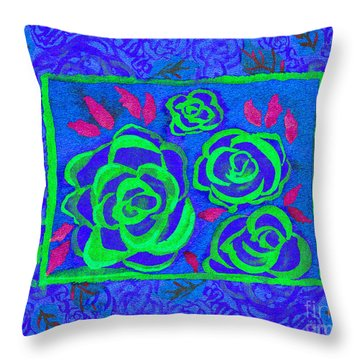 Psychedelic Roses - Summer Throw Pillow