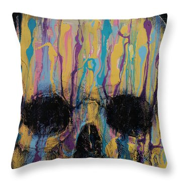 Psychedelic Skull Throw Pillow