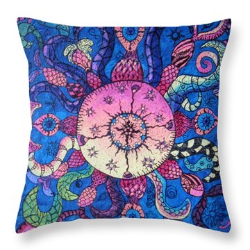 Psychedelic Squid Throw Pillow by Megan Walsh