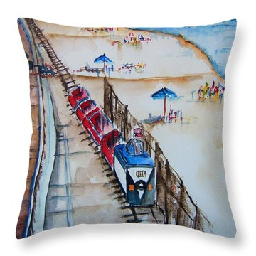 Pt Pleasant Nj Sand Train Throw Pillow