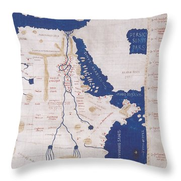 Ptolemys Map Of The Nile 2nd Century Throw Pillow by Photo Researchers