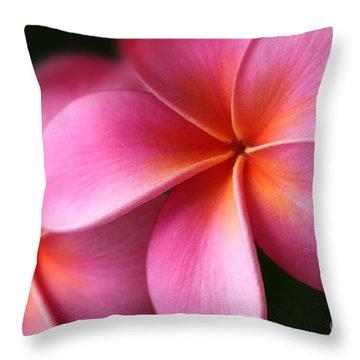 Throw Pillow featuring the photograph Pua Lei Aloha Cherished Blossom Pink Tropical Plumeria Hina Ma Lai Lena O Hawaii by Sharon Mau
