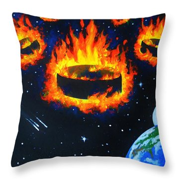 Puck Invasion Throw Pillow