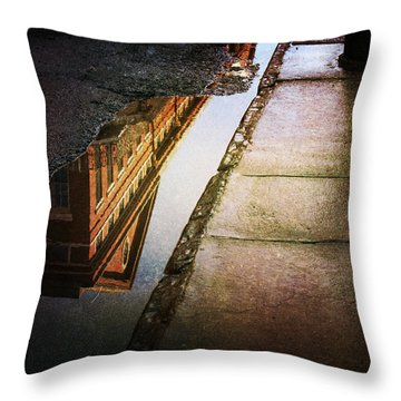 Throw Pillow featuring the photograph Puddles Of The Past by Heather Green