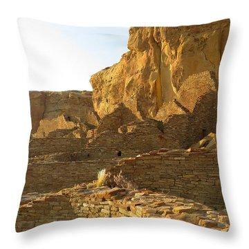 Pueblo Bonito And Cliff Throw Pillow by Feva  Fotos