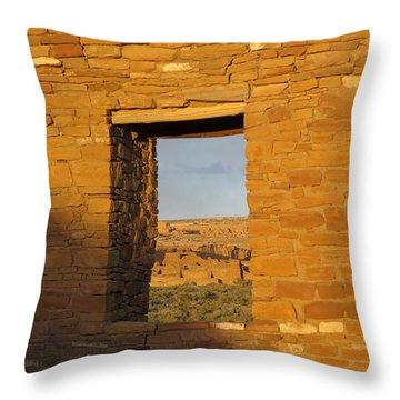 Pueblo Bonito Through A Doorway Throw Pillow by Feva  Fotos